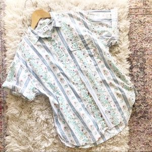 Vintage | White Floral Striped Button Up Shirt L